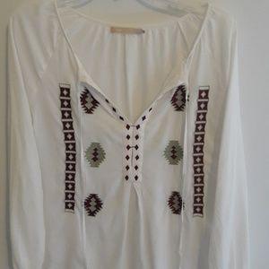 MOB Peasant Style white tribal top shirt
